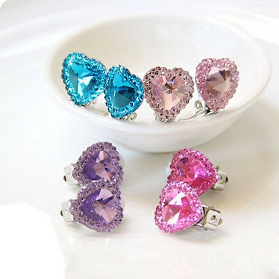 Clip on Earring No Piercing Crystal Children kids Costum Party Jewelry Utility