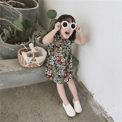 Baby Kids Girls Cute Flower UV400 Sunglasses Holiday Party Round Goggles