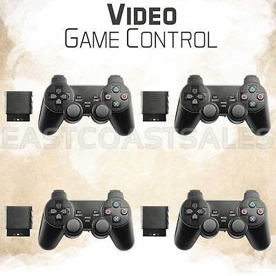 4x Black Wireless Video Game Shock Remote Controller For Sony PS2 Playstation 2