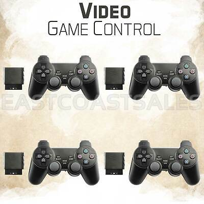 4x Blue Wireless Video Game Shock Remote Controller For Sony PS2 Playstation 2