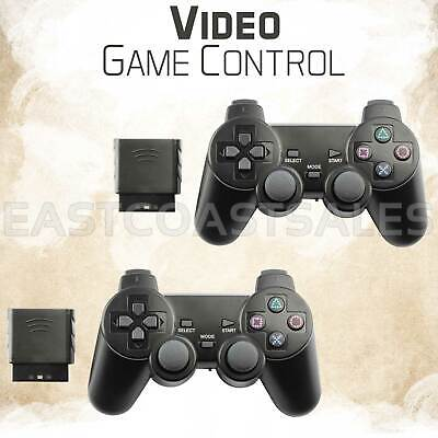 2x Black Blue Wireless Video Game Remote Controller For Sony PS2 Playstation 2