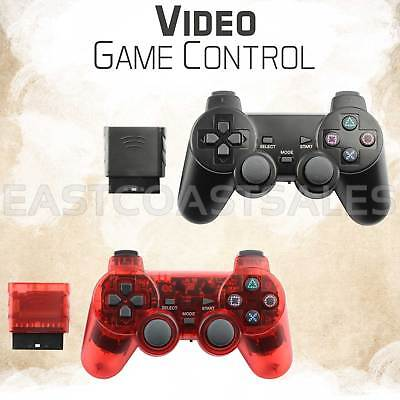 2x Black Red Wireless Video Game Remote Controller For Sony PS2 Playstation 2