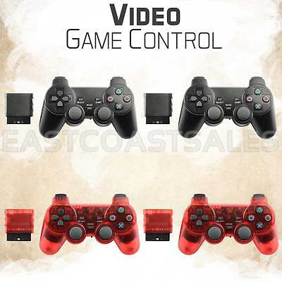 4x Black Red Wireless Video Game Remote Controller For Sony PS2 Playstation 2