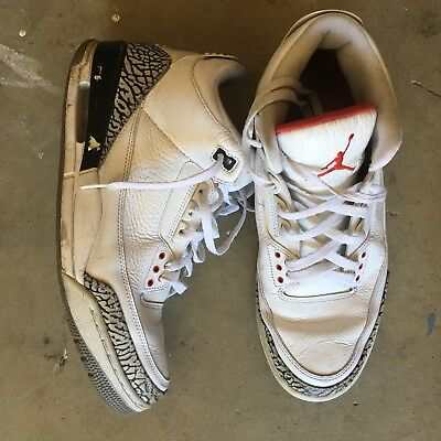 b1289567099 AIR JORDAN FUSION 3 Nikes Black Fire Red Cement Grey White Size 12 ...