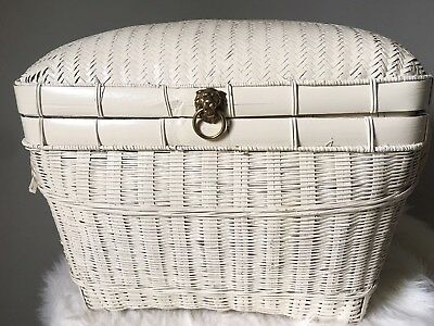 Vintage Wicker Trunk Chest Brass Lion Accent Painted White Handles