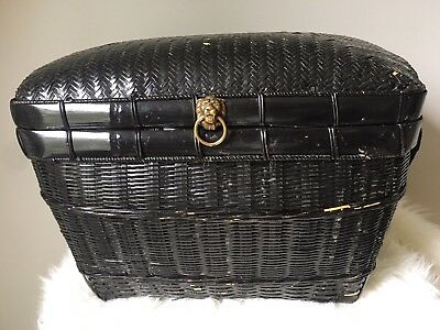 Vintage Wicker Trunk Chest Brass Lion Knob Painted Black with Handles