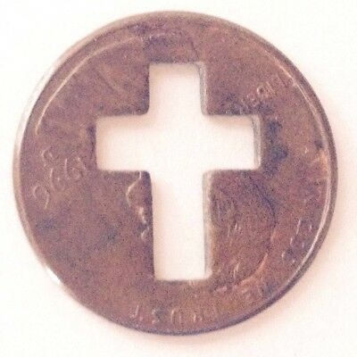 Estate 1996-D USA Penny with Cross cut-out