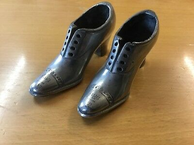 "Pair of Rare Early 20th century ladies plated shoes - engraved ""Jessie"" 1917"
