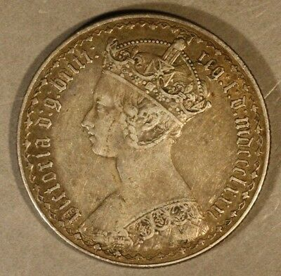 1881 Great Britain Gothic Florin Nice Details         ** FREE U.S. SHIPPING **