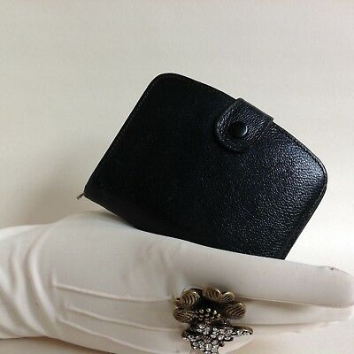 Vintage Coin Purse Mini Wallet Black Leather Zip closure & Black Leather Lining