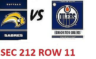 1-2 Tiks Edmonton Oilers Vs Buffalo Sabres  Jan 14 Rogers Place Sect 212 Row 11