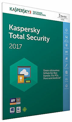 Kaspersky Total Security 2018 3PC /Geräte 1Jahr Vollversion Lizenz Key Schlüssel