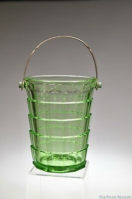 1926 - 1931 No. 600 TEA ROOM by Indiana Glass GREEN URANIUM Handled Ice Bucket