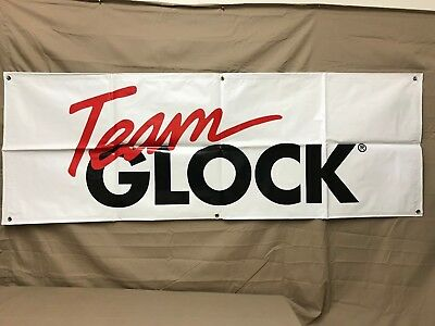 Team Glock Banner White With Red And Black Letters Size is 67.5x24