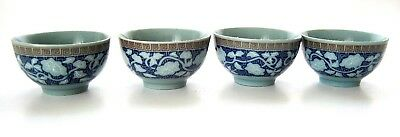 """4 Small Asian Chinese or Japanese Footed Cups Tiny Bowls in Blues 1""""- 2"""""""