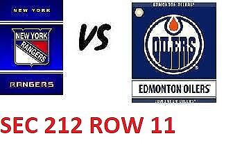 1-2 Tiks Edmonton Oilers Vs New York Rangers Mar 11 Rogers Place Sect 212 Row 11