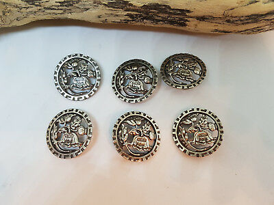 Rare Antique Lot Of 6 Beautiful Solid Silver Buttons Hallmark A.w.p