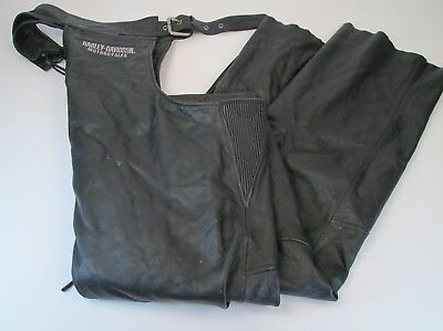 HARLEY DAVIDSON Black Leather Chaps Lined Large 98119-08VM Motorcycle