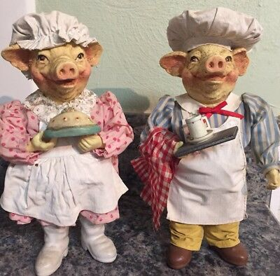 """Vintage Folkraft 1989 Possible Dreams Baker And Chef Pig Couple ~ 81/2"""""""