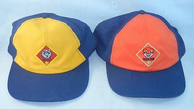 2 Cub Scout Tiger and Wolf BSA Youth Adjustable Baseball Cap Hat S M L