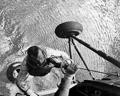 Mercury Astronaut Alan Shepard Hoisted To Helicopter - 8X10 Nasa Photo Print