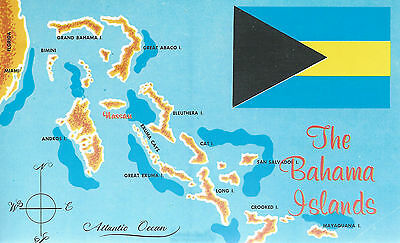 The Bahama Islands  Aerial Depiction of Islands  with Flag    Chrome Postcard