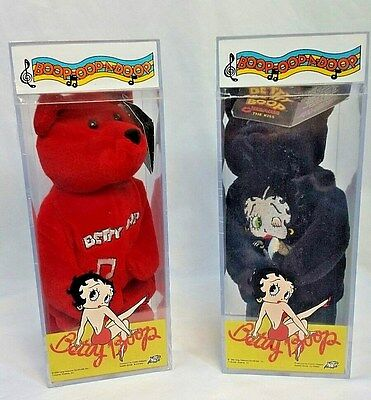 Collector Betty Boop 2 Beanie Bears 1999 In Case Numbered Red And Black