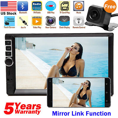 "7"" Inch Car Stereo Mp5 Player Touch Screen Bluetooth Radio 2din HD + Rear Camera"
