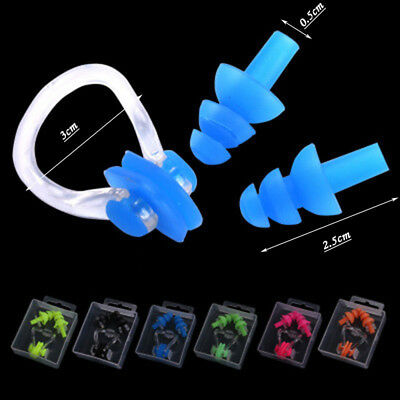 Baby Kids Adult Soft Silicone Ear Plugs Nose Clip Case Swimming Water Pool Sea