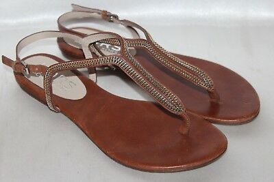 5f7213906c3aef KORS MICHAEL KORS Brown Leather Chain Link Flat T-Strap Thong Sandals Sz 7