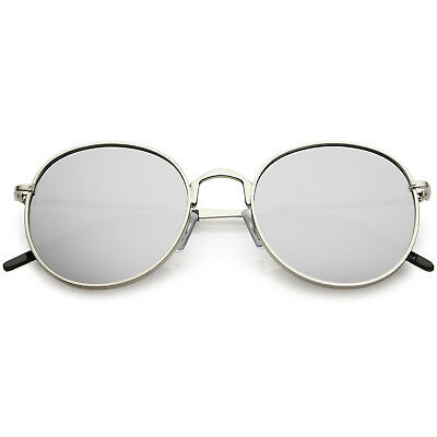 fcaae59b1 sunglassLA Classic Metal Round Sunglasses Thin Arms Colored Mirror Flat Lens