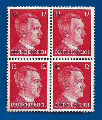 Authentic Nazi Germany Third 3rd Reich POST OFFICE 12 pf HITLER HEAD stamp block