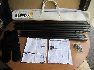 8' x 8' telescopic adjustable banner stand (made by StickersBanners.com)