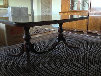 Antique Drexel Mahogany Double Pedestal Dining Table w/ Leaves