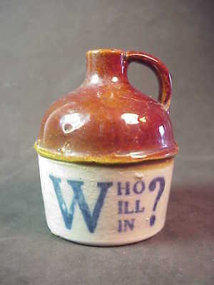 RED WING Pottery - Who Will Win - Michigan Minnesota - Miniature Whiskey Jug