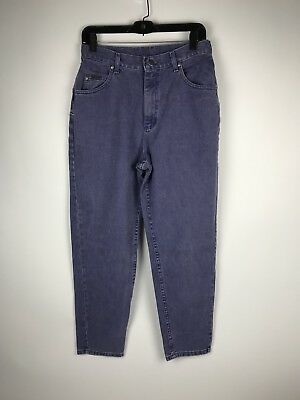 Vintage Lee Riveted Women's Mom Jeans Size 12 Short Purple High Waist Tapered