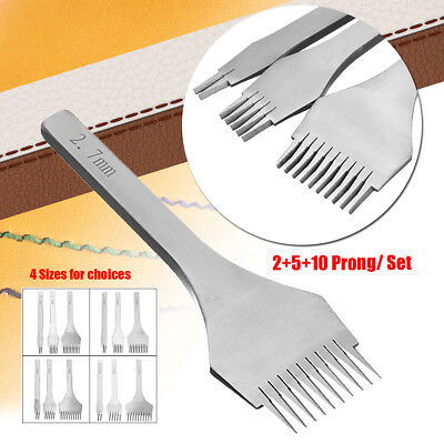 3pcs 2+5+10 Prong Europe Style Leather Craft Pricking Irons Stitching Steel Tool