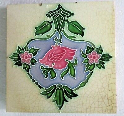 "Antique 6""x 6"" Ceramic Tile Victorian Art Nouveau FLOWER Japan floral pattern"