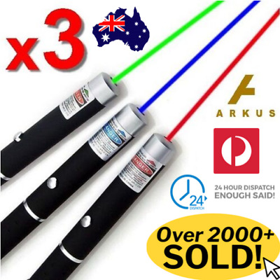 3 x PREMIUM LASER POINTER Red Green Blue 1mW Colour HIGH Power Beam Pen Cat Toy