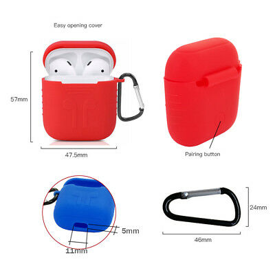 [Portective Silicone Case for AirPods] Duarable Cover+Anti-lost+Strap Carabiner