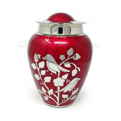 Silver blessing birds large adult ashes urn in red, Cremation Urns Ashes