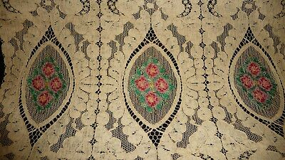 """#430 NET LACE vtg table runner w petti point embrodered flower inserts 34"""" x12 1"""