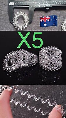5pcs Clear Elastic Rubber Hair Ties Band Rope Ponytail Holder Spiral Accessories