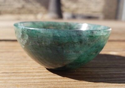 Natural Green Jade Stone Hand Carved Gemstone Bowl [19]