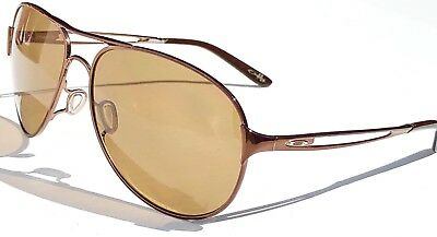 NEW* Oakley CAVEAT Brunette POLARIZED Bronz Womens 60mm Aviator Sunglass 4054-05