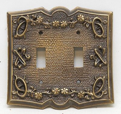 Vintage Sears Ornate Antique Brass Metal Double Switch Plate Cover Floral