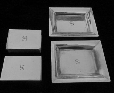 Vtg Tiffany Sterling Silver Individual Ashtrays/match Vestas(2) In Pouch