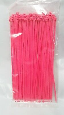"""7"""" Fluorescent Pink Nylon Cable Zip Ties 50LB. USA MADE, 100pk"""