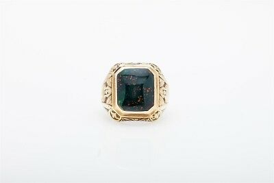 Antique EGYPTIAN 1920s 7ct BLOODSTONE 14k Yellow Gold Mens Ring Band