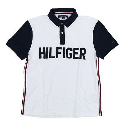 Tommy Hilfiger Mens Polo Shirt Stretch Short Sleeve Graphic Logo Top M L Xl New